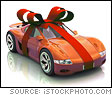 Red Ribbon Wrapped Around an Orange Race Car