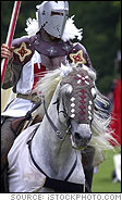 White Knight in Armor on Horseback